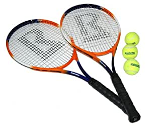 Ransome Sporting Goods - Set di racchette da tennis per adulti, 27'', colore: Arancione/Bianco/Blu