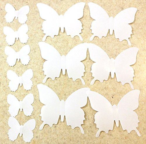 BlaydesSales: Butterfly Wall Art (Pack of 12) White Butterfly Wall Art: White PVC 3D Decorative Butterflies, Removable Wall Art Sticker Decal, Home Decor, Wedding Décor, Nursery Decoration, Bathroom Décor, Office Décor, 3D Wall Art, 3D Crafts, DIY Decoration