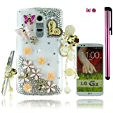 FiMeney Luxury Handmade Golden Crystal Diamond Rhinestones I Love U Pearls Pendant Pink Butterfly Pink Daisy Rose Clear Transparent Back Hard Protective Case Cover Shell For LG G2 Sprint LS980/ AT&T D800/ T-Mobiler D801 [Except Verizon VS980] + Cleaning Cloth + 2014 Calendar Card + Pink Stylus Pen + Pink Butterfly And Sakura Dust Plugs