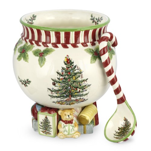 Spode Christmas Tree Peppermint 140-Ounce Footed Punch Bowl with Ladle 10-Inch