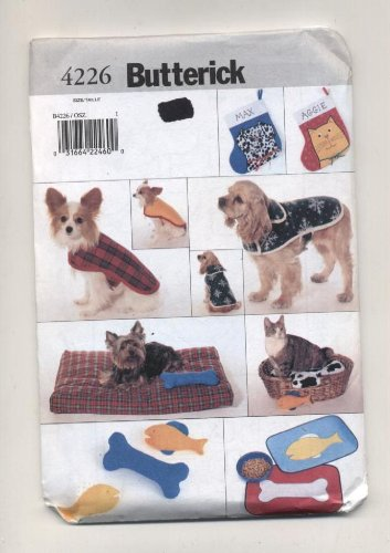 Butterick Sewing Pattern 4226 Pet Accessories: Coats, Placemats, Stockings, Beds and Toys