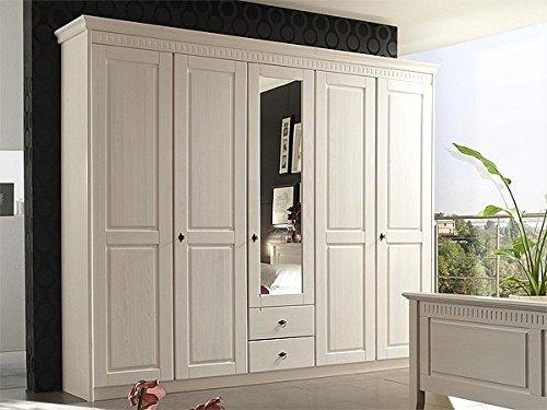 Kleiderschrank-5-trig-mit-Spiegel-Bozen-6709-weiss-gewachst-Kiefer-massiv-248cm