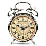 ツインベル常夜燈 目覚まし時計 バックライト付き 金属製時計 大音量 アナログ 連続秒針 音がしない 4インチ カッパー めっき シルバー