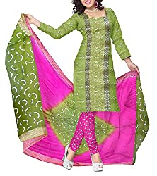 Shreya Fashion Women's Cotton Unstitched Dress Material (VE005_Green_Free size)