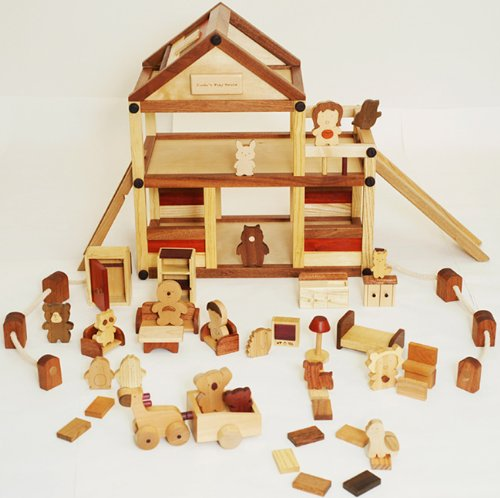 [木のおもちゃSoopsori]組立式3階建て木製ドールハウスセット 動物人形や家具類たくさん入ったごっこ遊びセット