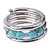 Fashion Ethnic Oval Rimous Turquoise Charming Crystal Four Sharp Bead Bracelet for Women