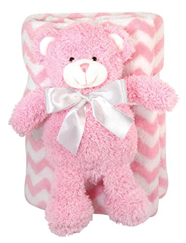 "Stephan Baby Super-Soft Coral Fleece Blanket and Floppy Bear Gift Set, Pink Chevron, 11"" - 1"