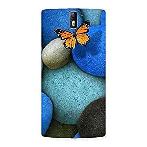 Stylish Pebbls and Butterfly Multicolor Back Case Cover for One Plus One
