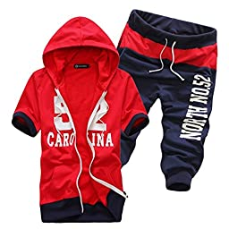 Aoibox Men\'s Cotton Hoodie and Cropped Trousers Suit Red XL