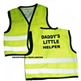 Kids High Visibility Hi Viz Safety Vest Top Hi Vis Baby Waistcoat Childrens Gift (X-LARGE (4-6 YEARS), DADY'S LITTLE HEPLER)