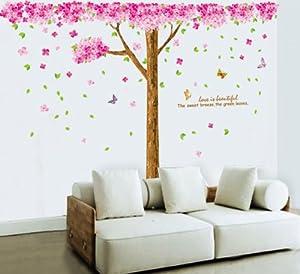SODIAL(R) arbol de la flor de cerezo rosada enorme Vinilo paRojo de la decoracion etiqueta Mural Decal por SODIAL(R)