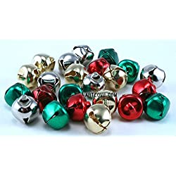 1/2 inch 13mm Silver Gold Red Green Mix Small Jingle Bells Charms 36 Pcs