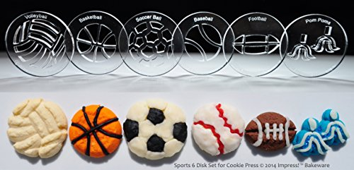 Sports 6 Disk Set for Cookie Presses (SIZE M disks for presses that came with METAL disks)