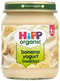 HiPP Organic Stage 1 From 4 Months Banana Yogurt Breakfast 6 x 125 g (Pack of 2, Total 12 Pots)