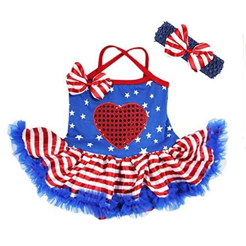 Baby 14th July Star Red Heart Bodysuit Tutu Dress