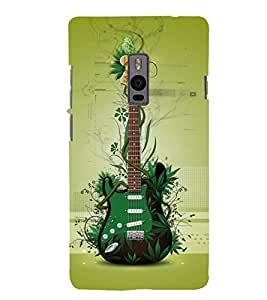 Green Guitar Back Case Cover for One Plus Two::One Plus 2::One+2
