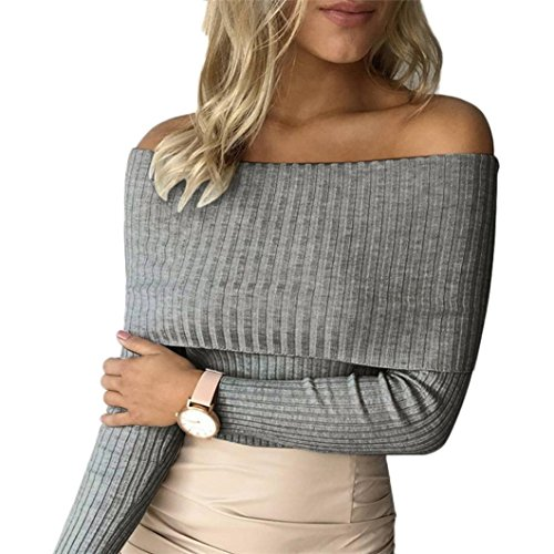 Elevin(TM)Women Sexy Short Top Tight Knitting Sweater Off-Shoulder Strapless T-shirt (S, Gray)