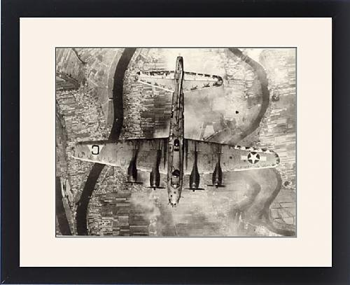 Framed Artwork of Boeing B-17 Flying Fortress from above