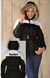 NFL- Pittsburgh STEELERS Ladies The Looker Jacket with Faux Fur TrimHood~ XL by G 111