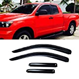 VIOJI 4pcs Dark Smoke Outside Mount Style Sun Rain Guard Vent Shade Window Visors Fit 07-15 Toyota Tundra Double/Crew Cab With 2 Half Size Rear Doors
