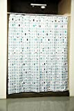 Obsessions Glam Printed Polyester Shower Curtain with Hook - White