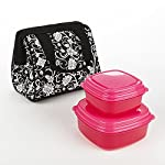 Riley Kids' Lunch Bag Kit with Sandwich & Side Containers (Black & White)