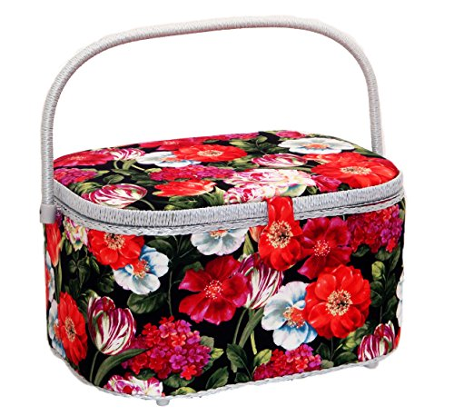 "Cheap Dritz St. Jane Sewing Basket Large Oval (14.25"" L x 10.25"" W x 8"" H); Flowers i..."