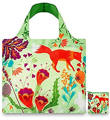 LOQI™ Reusable Grocery Foldable Bags ? ECO Shopping HandBags ? Tote Bags ? Shoulder Bags with Zipper Pouch ? Polyester ? Ink Series