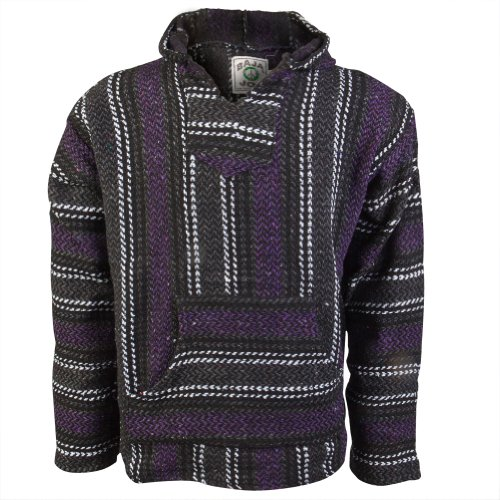 Baja Joe - Mens Stripe Woven Baja Hoodie - Medium Purple front-1042164