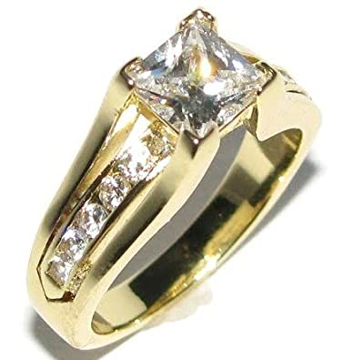New Improved! Princess Cut 6mm Flawless Lab Diamonds Ring. Gold Over Stainless Steel. Never Tarnish. Stamped 316. Outstanding Quality Engagement Wedding Set.