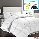 Hotel Grand Oversized Luxury 1000 Thread Count Egyptian Cotton Down Alternative Comforter Sleep Mask & Comfortable Pair of Corded Earplugs Included (King, White)