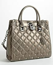 Hot Sale Michael Kors Nickel Leather Stud Quilt Hamilton Large Tote Shoulder Bag Handbag Purse
