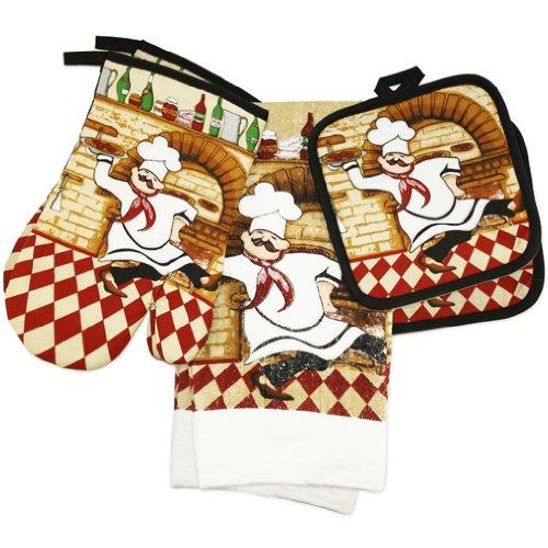 Chef Print 6 Piece Kitchen Dish Towel by Pot Holder & Oven Mitt Set