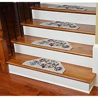 Washable Non-Skid Carpet Stair Treads - Beige Flower (13)