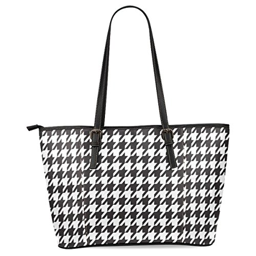 Ewa Houndstooth Women's Leather Tote Shoulder Bags Handbags