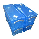Really Useful Boxes Plastic 6.5 Litre (BLUE), Pack of 4 Boxes, MEGA-DEAL