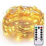 String Lights, Sanniu Battery String Lights Waterproof Design 16ft 50 LED,String Lights Battery with Remote Control 8 Modes Warm White