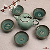 """Exklusives asiatisches Gong Fu Cha Teeservice """"Charms"""" (kleine Kanne mit 5 Teeschalen) aus hochwertigem Seladon-Porzellanvon """"Goodwei"""""""