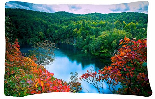Microfiber Peach Standard Soft And Silky Decorative Pillow Case (20 * 26 Inch) - Nature Flowers Small Lake In The Jungle Nature Hd Wallpaper X front-1013631