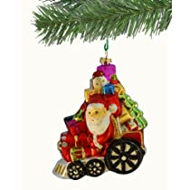 Barcana Shatterproof Santa on Train Ornament 5-Inch