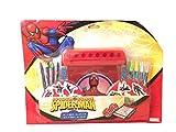 Set de dibujo para colorear de Spiderman. Pupitre con pinturas, rotuladores y rollo de 6 metros de papel para colorear