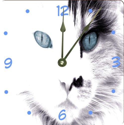 "Rikki Knighttm White Cat With Blue Eyes Design 6"" Art Desk Clock front-641548"