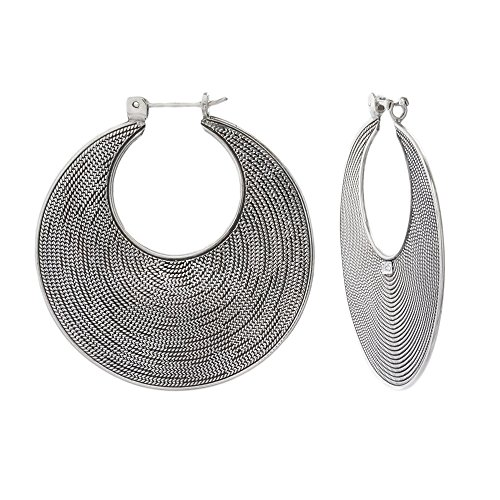 Textured Hoop Earrings Balinese Sterling Silver Bali Large 1 3/4