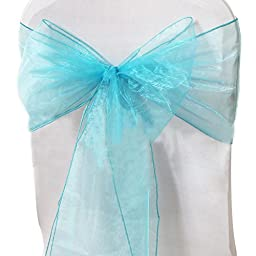 Lingstar Beautiful Organza Chair Cover Ribbon Bows Sash for Wedding or Banquet, Lake blue 100PCS