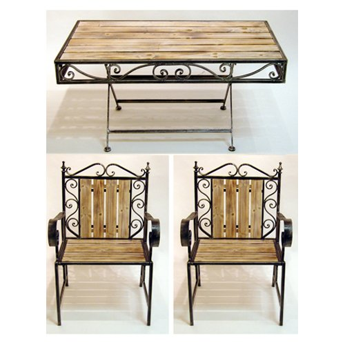 MOROCCAN - Solid Wood and Metal Outdoor Garden Table and 2 Chairs