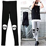 Bei wang Women Skull Ankle Length Footless Pantyhose Legging Tregging Tight Pant Skinny Slim One Size (Black)