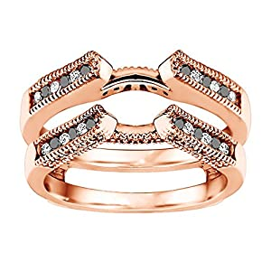 0.3CT Black And White CZ Vintage Designed Cathedral Millgrain Ring Guard set in Rose Gold Plated Sterling Silver (0.3CT TWT Black And White CZ)