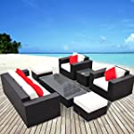 Outsunny 7pc Rattan Furniture Sofa Se...