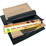 Professional-Grade Grill Mats (Set of 2) Plus Free Bonus Baking Sheet, Non-Stick, Safe PFOA-Free Silicone, Perfect Grill Accessories for Year-round Outdoor and Indoor Healthy Cooking, From Healthy Chef Tools