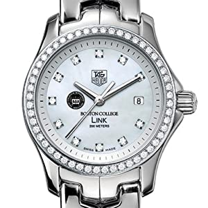 Boston College TAG Heuer Watch - Ladies Link Watch with Diamond Bezel by TAG Heuer